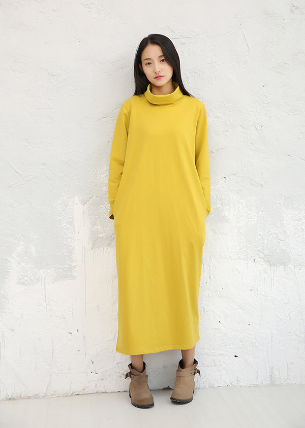 Vintage High Neck Pure Color Base Dresses For Women D106