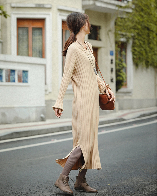Elegant Beige Knitted Maxi Dresses Women Casual Clothes Z81040