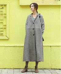 Women Elegant Loose Woolen Overcoat Casual Outfits F81019
