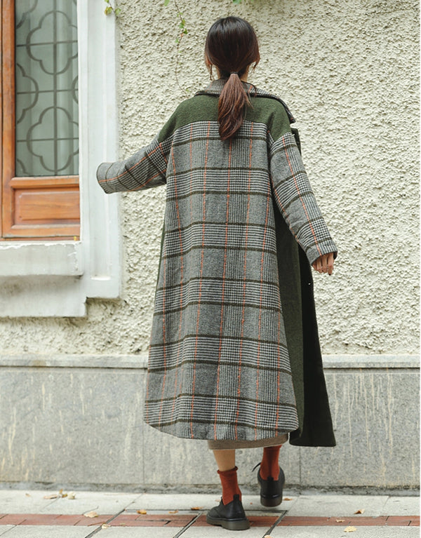 Fashion Green Quilted Long Woolen Coat Women Casual Outfits F81022