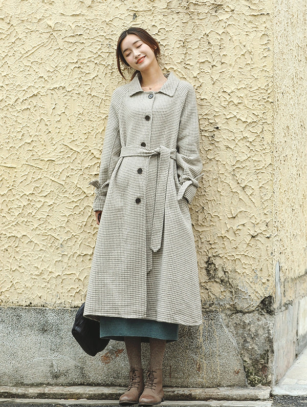 Beige Plaid Elegant Woolen Overcoat Women Loose Outfits F81015