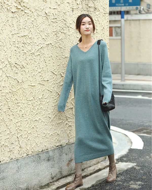 Cute Blue And Beige Long Woolen Sweater Dresses For Women Z81014