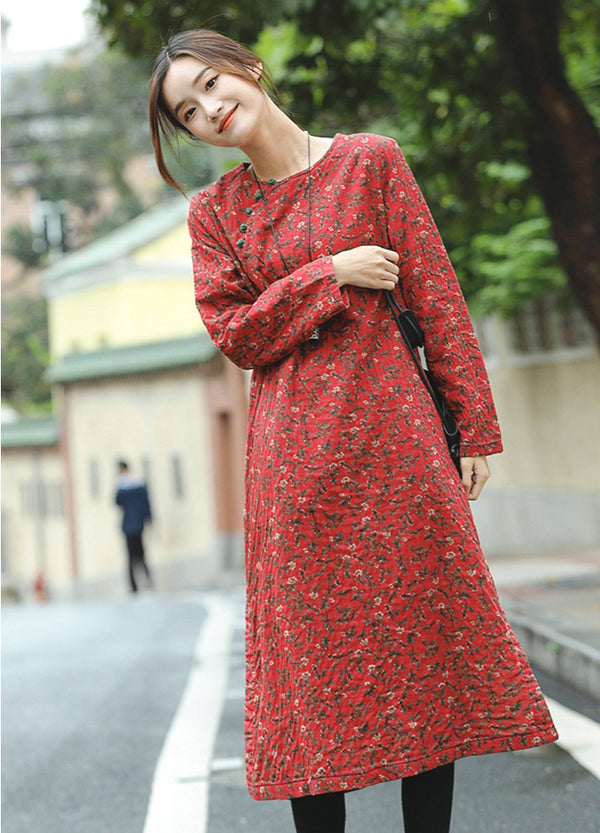 Cute Red Floral Cotton Linen Thicken Maxi Dresses For Women Q81010