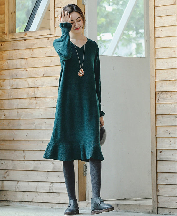 Loose Black And Green Casual Sweater Dresses For Women Z8932