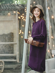 Purple Loose Sweater Dresses Women Casual Clothes Q8928