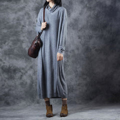 Loose High Neck Maxi Sweater Dresses Women Casual Clothes W9208
