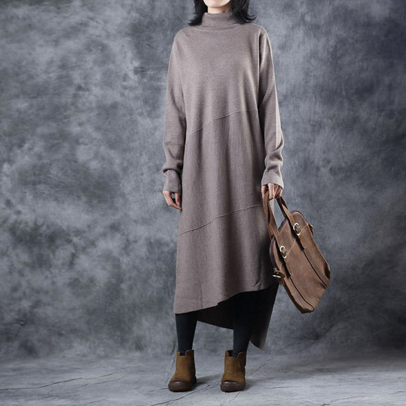 Casual High Neck Pure Color Sweater Dresses For Women W5608