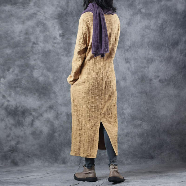 Elegant Yellow Thicken Cotton Linen Dresses For Women W8511