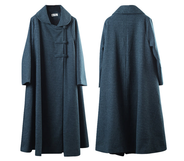 Green Casual Vintage Woolen Overcoat For Women W001