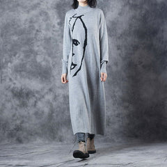 Black And Gray High  Neck Maxi Sweater Dresses For Women W519