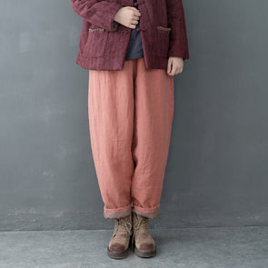 Vintage Loose Thicken Cotton Linen Pants Women Casual Winter Trousers K19110