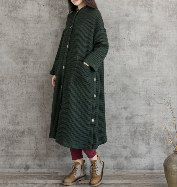 Women Vintage Loose Button Down Long Coat C19112