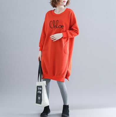 Cute Loose Cotton Fleece Dresses Women Casual Clothes Q19111