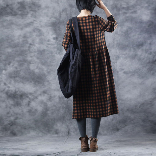 Loose High Waist Plaid Sweater Dresses For Women W327