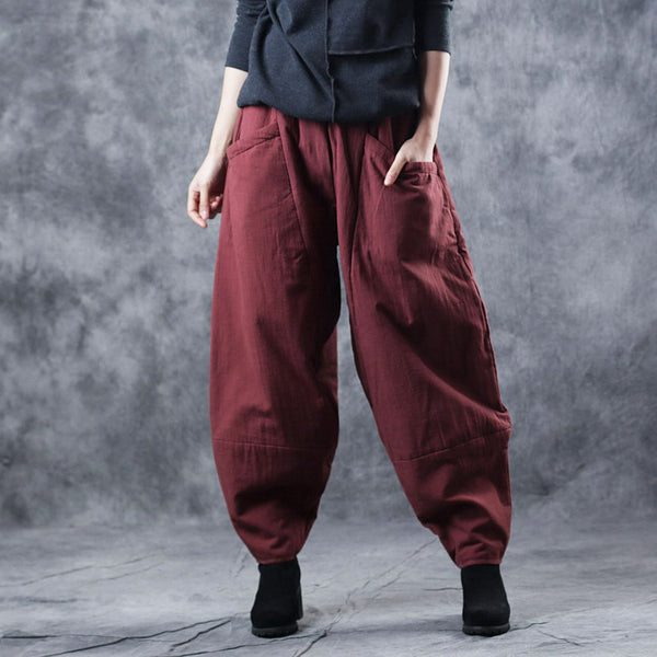 Casual Thicken Wide Leg Pants Winter Trousers For Women W7638