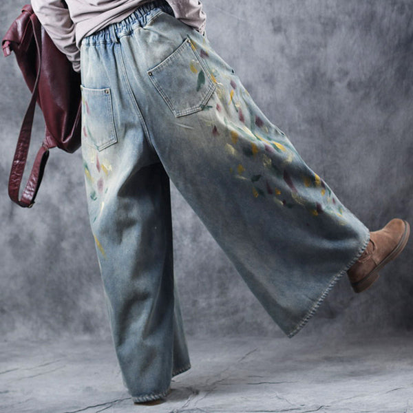 Vintage Brushed Thicken Wide Leg Pants Women Loose Denim Trousers W3319