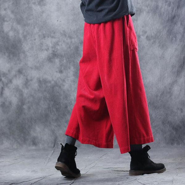 Women Vintage Loose Corduroy Wide Leg Pants Casual Trousers W4618