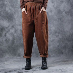 Women Corduroy Vintage Casual Pants For Winter W0518