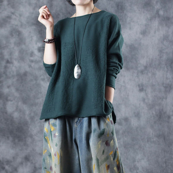 Loose Red And Green Cotton Knitwear Women Casual Tops W473