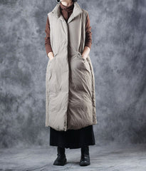 Winter Khaki And Black Long Down Waistcoat For Women W3903