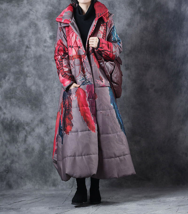 Casual Print Hoodie Thicken Long Winter Coat For Women W5609