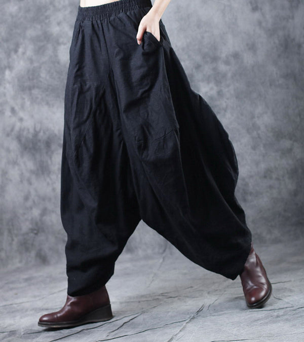 Black Loose Thicken Linen Wide Leg Pants For Women W5481