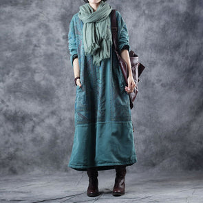Women Vintage Loose Brushed Thicken Fleece Dresses W9850