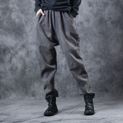 Women Thicken Gray Brushed Casual Pants Cotton Harem Trousers W7060