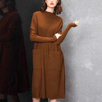 Elegant Coffee Quilted Knitted Dresses Women Casual Clothes Y753