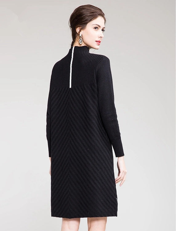 Elegant Pure Color High Neck Sweater Dresses For Women T0038