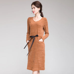 Fashion Pure Color Fitted Base Dresses For Women Q19116