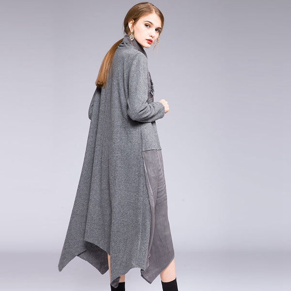 Loose Black And Gray High Neck Knitted Woolen Dresses For Women Q19119