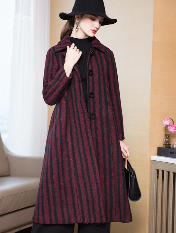 Women Loose Striped Long Winter Coat Casual Thicken Outfits Y8806