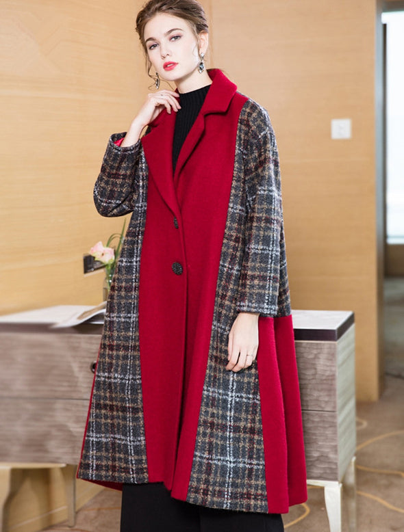 Black And Red Fashion Quilted Long Woolen Coat For Women Y888