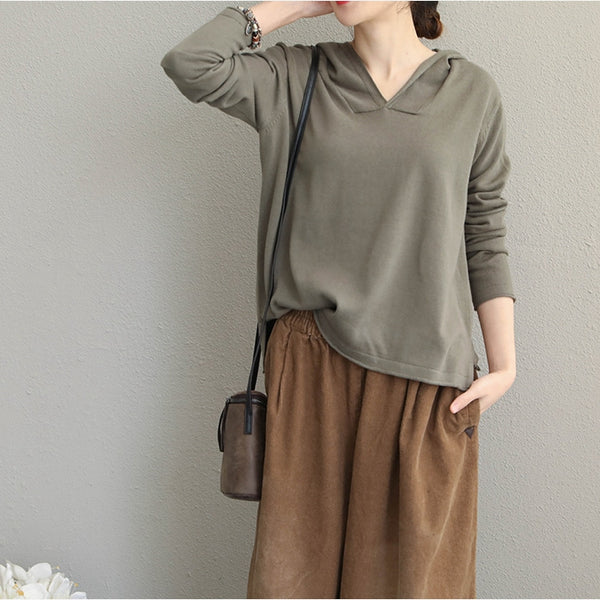 Casual Hoodie Cotton Knitwear Women Loose Tops Q1907