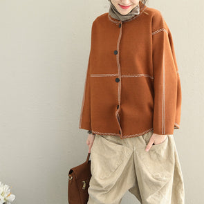 Loose Button Down Sweater Coat Women Casual Tops Q1858