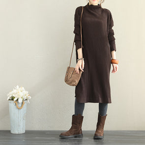 High Neck Knitted Sweater Dresses Women Casual Clothes Q1866