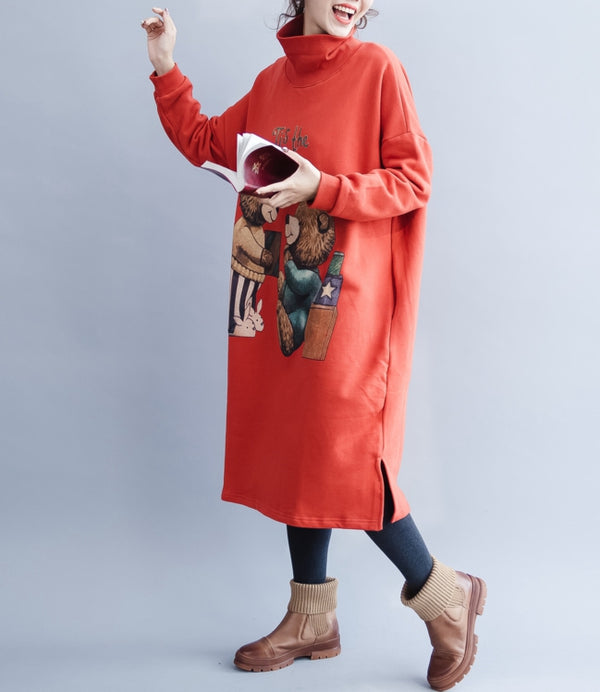 Loose Red High Neck Cotton Fleece Dresses For Women Q26117