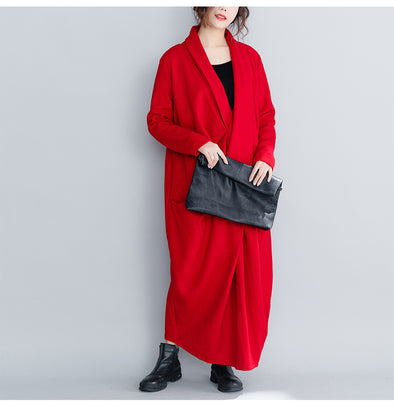 Vintage Loose Red And Black Wool Maxi Dresses For Women Q26119