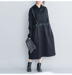 Casual Black Hoodie Quilted Maxi Dresses Women Loose Clothes Q27110