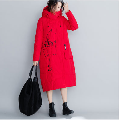 Loose Hoodie Embroidery Thicken Cotton Long Coat For Women C26110