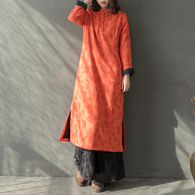 Women Orange Cotton Linen Thicken Dresses For Winter Q27112