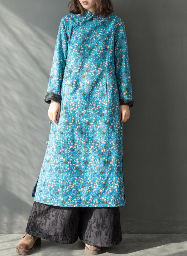 Chinese Style Women Thicken Long Dresses Casual Winter Cheong-sam Q27113