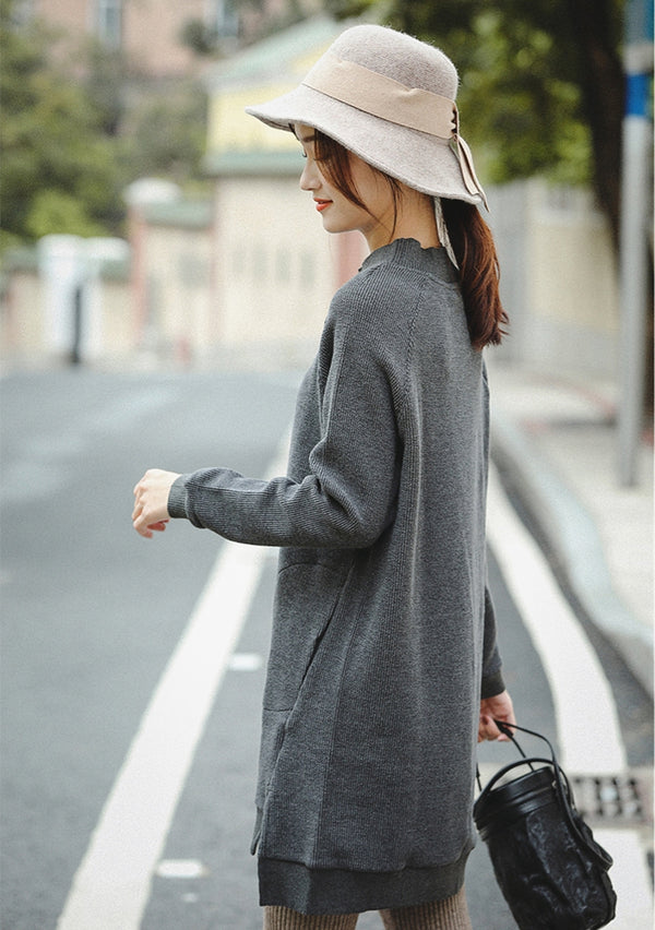 Gray Brushed Thicken Casual Fleece Women Loose Tops SQ846