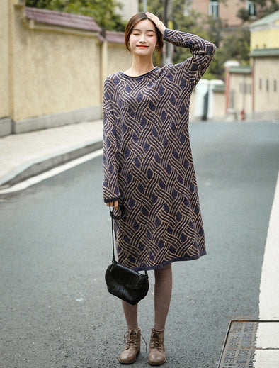 Vintage Loose Blue Sweater Dresses Women Causal Winter Clothes Q81056