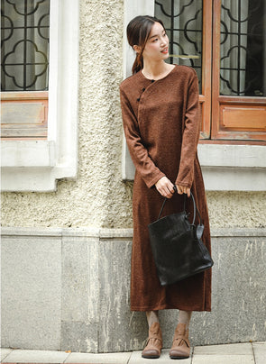 Loose Brown Knitted Maxi Dresses Women Casual Clothes Q81049