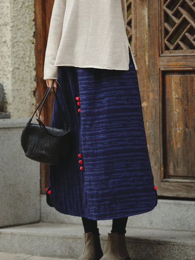 Blue Thicken Cotton Linen Skirt Women Casual Winter Clothes Q81057
