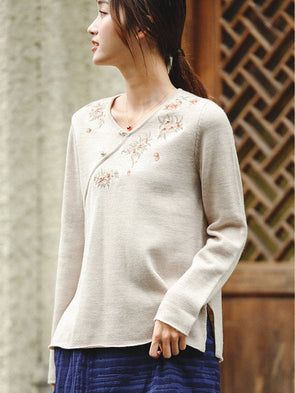 Vintage Beige Loose Wool Sweater Women Winter Tops Z81060