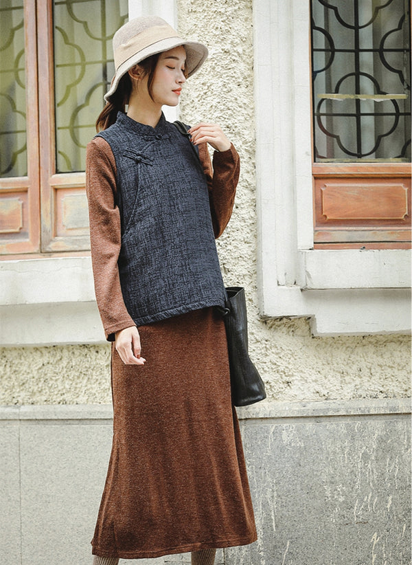 Chinese Style Gray Cotton Linen Short Waistcoat For Women W81061