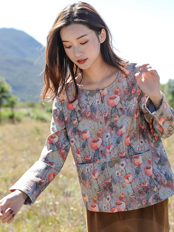 Women Cute Floral Thicken Brushed Shirt Casual Blouse Q81001